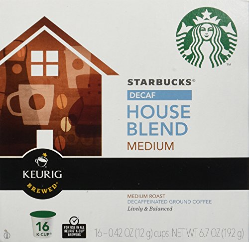 Starbucks Decaf House Blend Medium Roast Keurig K-Cups (16 Pack)