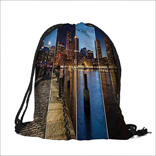 - Drawstring Cotton Linen Cloth Boston Skyline Day And Night Cityscape Reflection Of Skyscraper In Water Metropolis Themed Craft Gift Storage Pocket Bag 12