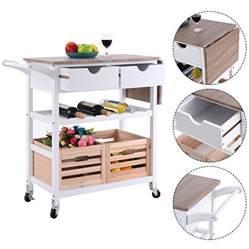 Costway Rolling Kitchen Trolley Island Cart Drop-leaf w/ Storage Drawer Basket Wine Rack by COSTWAY