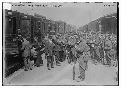 1914 Photo Extra Territorial French Troops  Dunkerque Soldiers Next To Train At Dunkerque  France During World War I   Source  Flickr Commons Project  2011