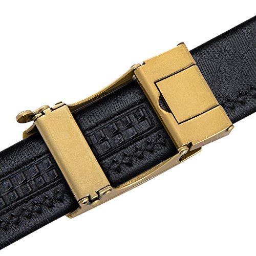 Dubulle Mens Italian Genuine Leather Belt with Removable Buckle Adjustable Automatic Buckle Belt Black Ratchet Belt for Men (DK-1004, waist size 42'' to 47'', belt 55''(140cm)) by Dubulle (Image #3)