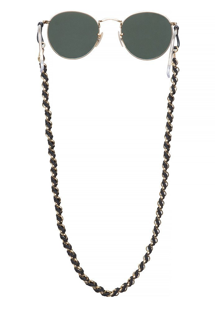 Sintillia Boho Braid Sunglass Strap, Glasses Chain, Eyeglass Cord, Black with Black Attachments
