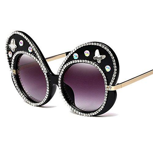 de Forma Gran señora tamaño de de Sol de de Gafas de de Las Gafas Gafas Sol UV Tonos Gran de Negro Mariposa Cristal Marco Moda protección Sol Ojos Proteccion de Personalidad Color la Mujeres para la wBanqFZt