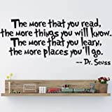 CUGBO Dr.Seuss The More You Read Vinyl Decal Removable Wall Sticker Mural Home Decor