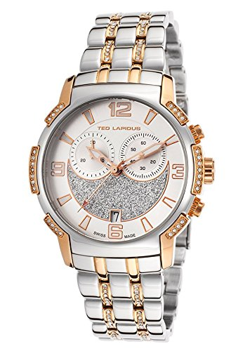 Ted Lapidus Women's Chronograph Two-Tone Steel Silver-Tone (Two Tone Chronograph Silver Dial)