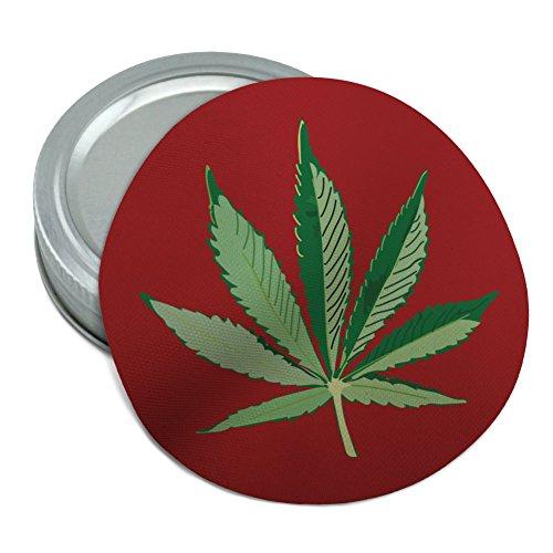 (Marijuana Pot Weed Leaf Bud Ganja Green Mary Jane on Red Round Rubber Non-Slip Jar Gripper Lid Opener)