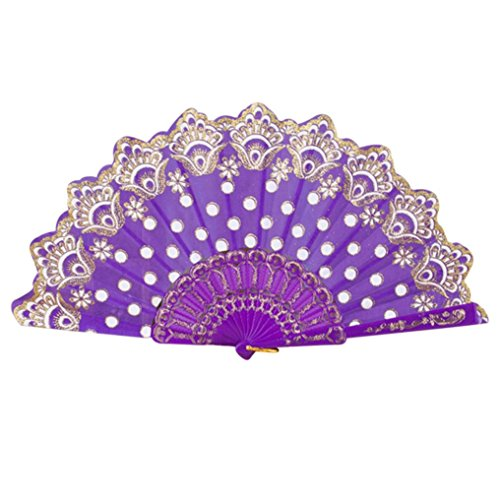 The Real Cat In The Hat Movie (Vibola 1pcs Hand Folding Fan Chinese/Spanish Style Dance Wedding Party Lace Silk Folding Hand Held Flower Fan party supplies(pattern is random) (Purple))