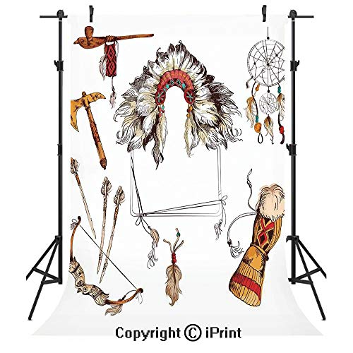 Tribal Photography Backdrops,Ethnic Tomahawk Tribal Native Chef Dreamcatcher Feather Old World Motifs Image Decorative,Birthday Party Seamless Photo Studio Booth Background Banner 3x5ft,Marigold Beige