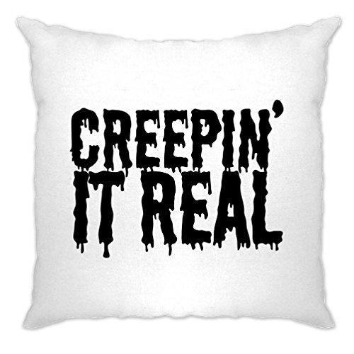 Creepin' It Real Halloween Slogan Pun Funny Creepy Cushion (Mens Halloween Costume Ideas Last Minutes)