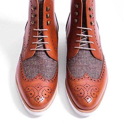 Stivali Da Uomo Rogue Wingtip Boots Cognac + Tweed