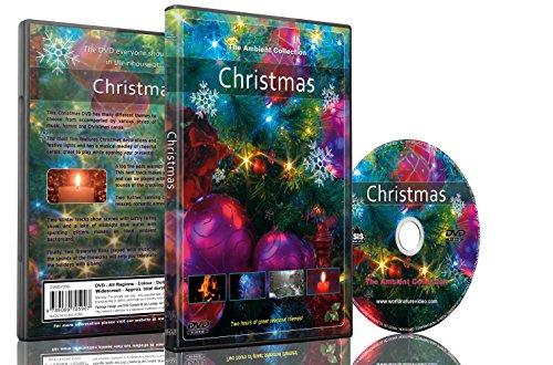 Weihnachten DVD bei Schneefall / Weihnachts Lichter / Kamin und Feuer