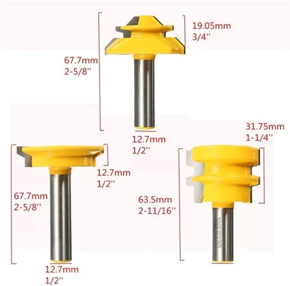 HH-ZZ Industrial Rotary Drill Shank Router Bit Woodworking Tool 3pcs 1//2 Inch Drill Accessories Drill Bits Cutting