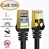 Cat 8 Ethernet Cable 50 ft Shielded, 26AWG Lastest 40Gbps 2000Mhz SFTP Patch Cord, Heavy Duty High Speed Cat8 LAN Network RJ45 Cable- in Wall, Outdoor, Weatherproof Rated for Router, Modem, Gaming