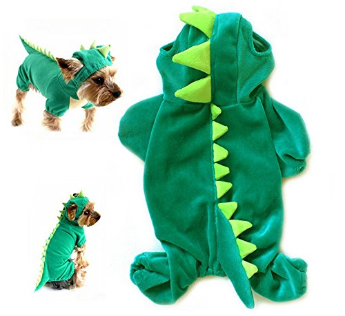 (Yunt Pet Plush Outfit Dinosaur Costume with Hood for Small Dogs & Cats Jumpsuit)