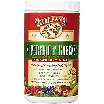 Barlean's Organic Oils Superfruit Greens, Strawberry Kiwi, 9.52 Ounce