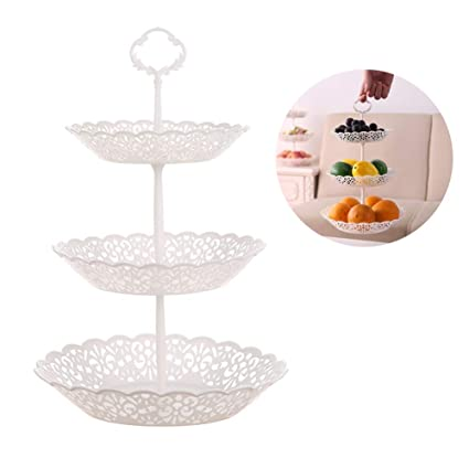 2 Set Of Three Layer Fruit Snack Plate Cupcake Plastic Stand White Openwork Pattern For Cakes