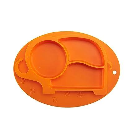 SBayb Juego cubertería vajilla Placa de Silicona para bebés Ventosa Placa para bebés integrada Silicona para