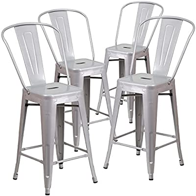 Flash Furniture 4 Pk. 24'' High Silver Metal Indoor-Outdoor Counter Height Stool with Back - Set of 4 Bistro Style Counter Stools Curved Back with Vertical Slat Seat Drain Hole assists in drying - patio-furniture, patio-chairs, patio - 514jCfmNNkL. SS400  -