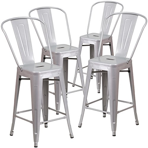 - Flash Furniture 4 Pk. 24'' High Silver Metal Indoor-Outdoor Counter Height Stool with Back
