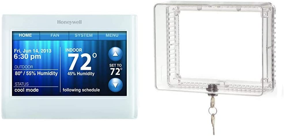 """Honeywell TH9320WF5003 Wi-Fi 9000 Color Touch Screen Programmable Thermostat, 3.5 x 4.5 Inch, White, Requires C Wire"""" & CG511A1000 Medium Inner Shelf to Prevent Tampering Thermostat Guard, White"""