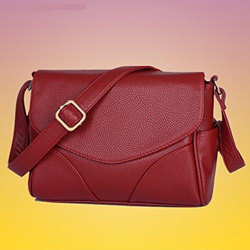 Yu Chuang Xin Bolso de hombro de cuero sintético suave de las mujeres Bolso de hombro Bolso de diseñador Bolsa de moda Casual ( Color : Rojo ) Rojo