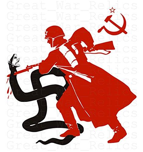 UpCrafts Studio Design Soviet Propaganda Poster - Size 8.3 x 11.7 - WW2 Soviet Russian Military Decor Posters
