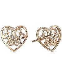 Rose Gold Over Sterling Silver Filigree Heart Ball Stud Ball Earrings