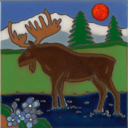 Pacific Blue Tile Original Hand Painted Ceramic Art Tile, 6 x 6 inch - Moose