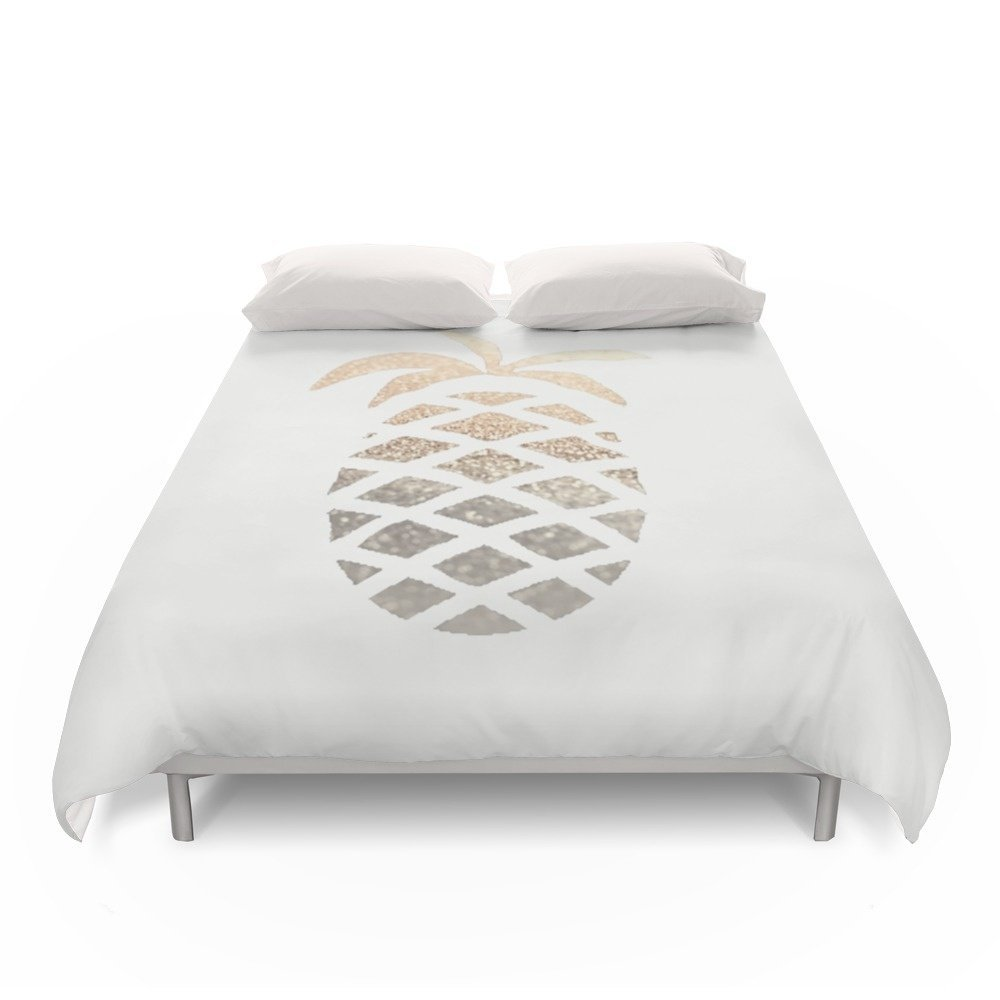 Society6 GOLD PINEAPPLE Duvet Covers Queen: 88'' x 88''