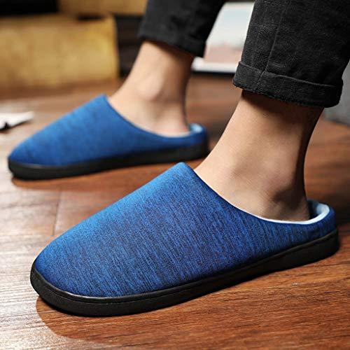 Chaud Chaussures Confort À Tefamore Maison L'intérieur Pantoufles Chambre Hommes Exquis De Antidérapant Femmes Bleu vtEtxq04