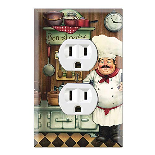 - Graphics Wallplates - Bon Appetit Chef in the Kitchen- Duplex Outlet Wall Plate Cover