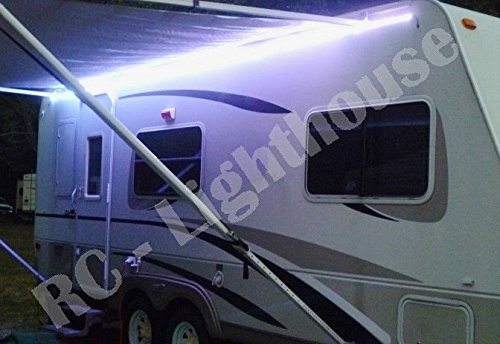 RV Recreational Vehicle Awning LED Light Strip RGB Multi Colored with 44 Key IR Remote and Power Source (4 Foot Length) by RC Lighthouse