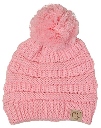 H-6847-29 Childrens Pom Beanie - Pale Pink