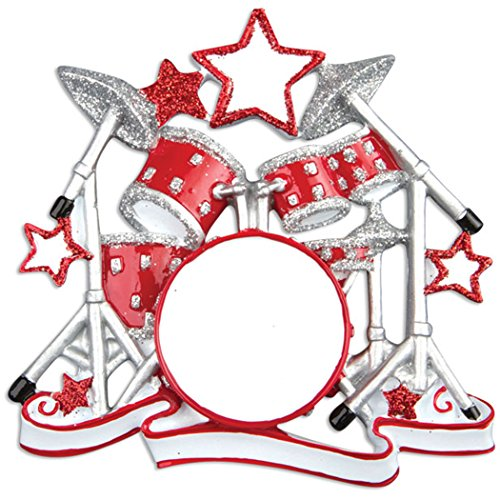 Personalized Drum Set Christmas Tree Ornament 2019 - Red Silver Glitter Percussion with Stars Concert Band Drummer Hobby Profession Teacher White Pow No Know Life Gift Year - Free Customization