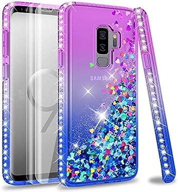 LeYi Coque Galaxy S9 Plus avec Verre Trempé [Lot de 2], Fille Personnalisé Liquide Paillette Transparente 3D Silicone Gel Antichoc Kawaii Étui pour ...