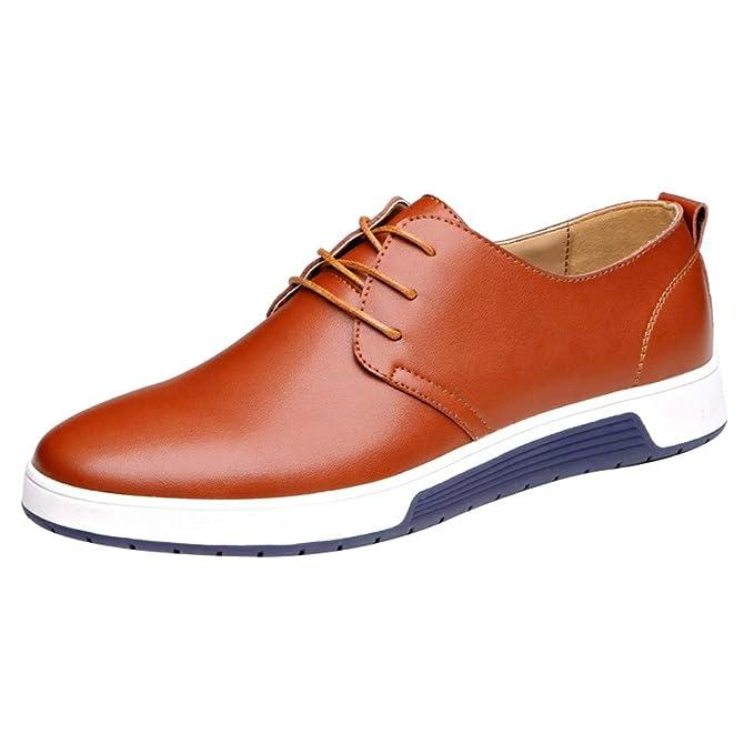 Bestow Zapatos de Vestir de Negocios para Hombres Zapatos Casuales Zapatos Planos de Cuero Casuales: Amazon.es: Ropa y accesorios