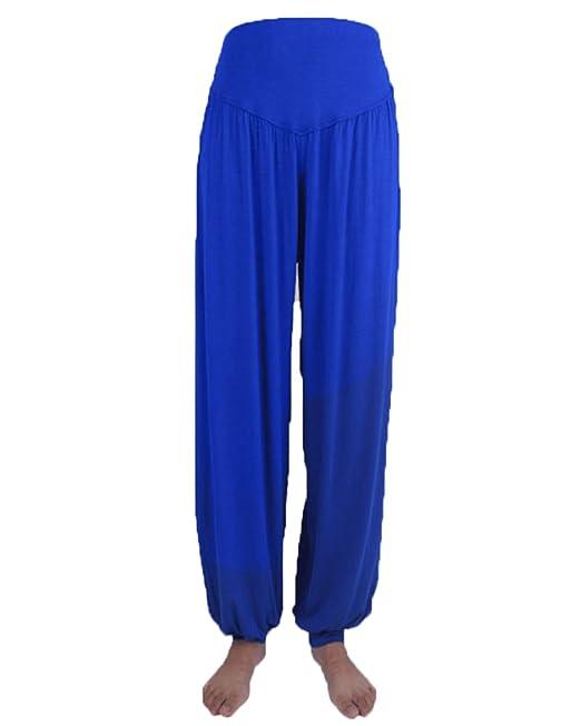ShiFan Mujeres Pantalones De Yoga Suave Anchos Elástico Pretina Pantalones De Fitness Danza Deportivo Bombachos Azul