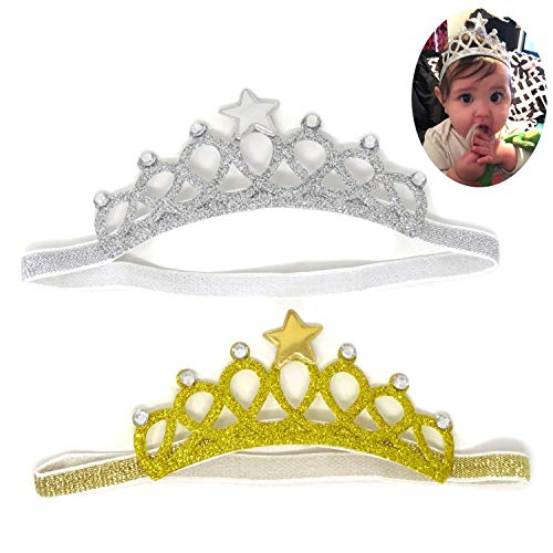 - Honbay 2PCS Baby Hair Accessories Baby Princess Crown Headband with Crystal and Star for 1 to 4 Years Old Baby, Gold and Silver