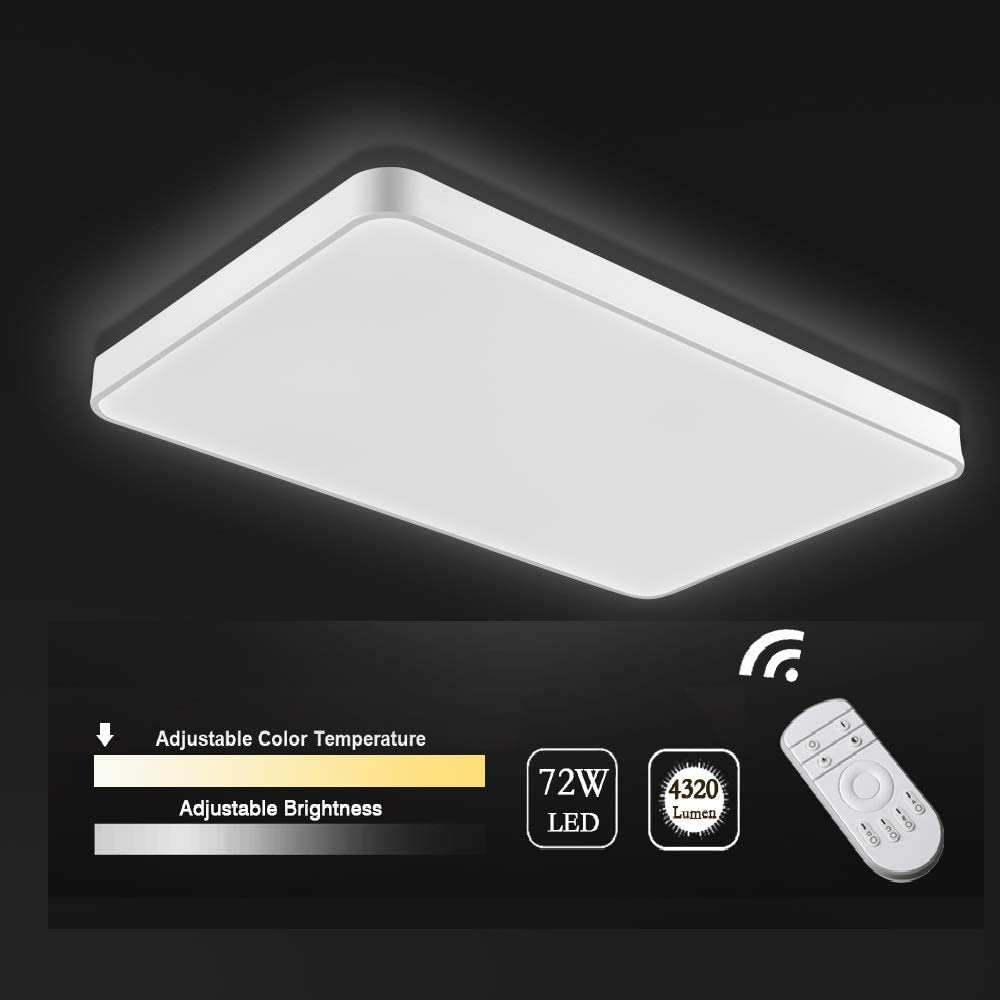 Viugreum LED Flush Mount Ceiling Light, Dimmable 72W 4320 Lumens Square Panel Light with Remote Control, Color Temperature Changeable Downlights Lighting Fixture for Kitchen,Hallway,Bathroom,Stairwell