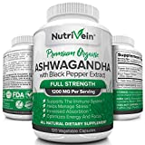 Nutrivein Organic Ashwagandha Capsules 1200mg – 120 Vegan Pills – Black Pepper Extract – 100% Pure Root Powder Supplement – Stress Relief, Anxiety, Immune, Thyroid & Adrenal Support – Mood Enhancer For Sale