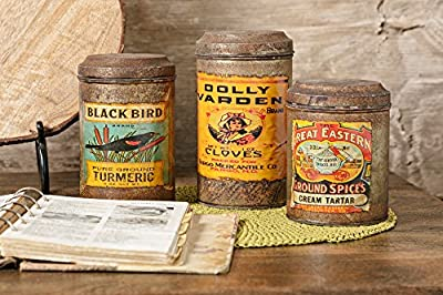 IMAX 6-8H in. Addie Vintage Label Canisters - Set of 3