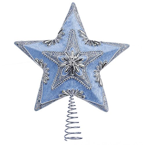 Blue Christmas Topper (Kurt Adler Pale Star Treetop, 13.5-Inch, Blue and Silver)