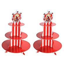 """Beistle 54946 2 Piece Circus Tent Cupcake Stands, 16"""", Multicolor"""
