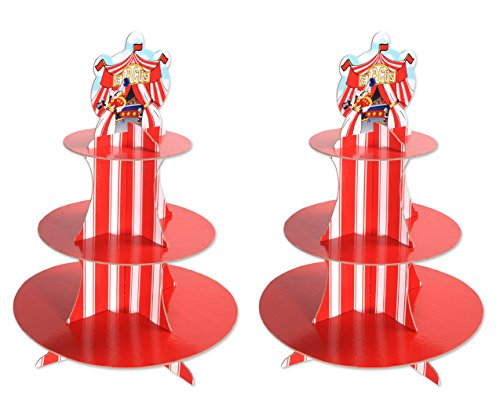Beistle 54946 2 Piece Circus Tent Cupcake Stands, 16