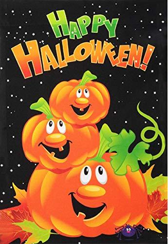 G128 - Halloween Garden Flag, Happy Halloween Quote with Pumpkins Garden Yard Decorations, Rustic Holiday Seasonal Outdoor Flag 12