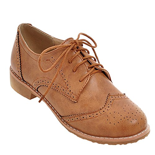 Latasa Dames Lace-up Oxford Schoenen Donker Geel