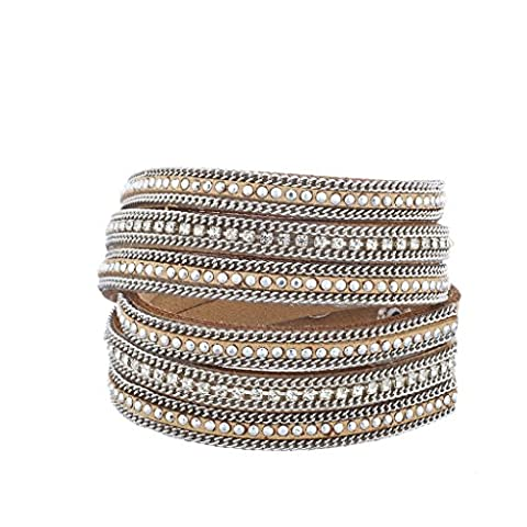 Lux Accessories Tan and Silvertone Studded Cupchain Chain Double Wrap Bracelet