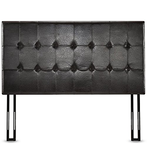 Zinus Faux Leather Upholstered Square Tufted Headboard, Full/Queen, (Leather Headboard Bed)