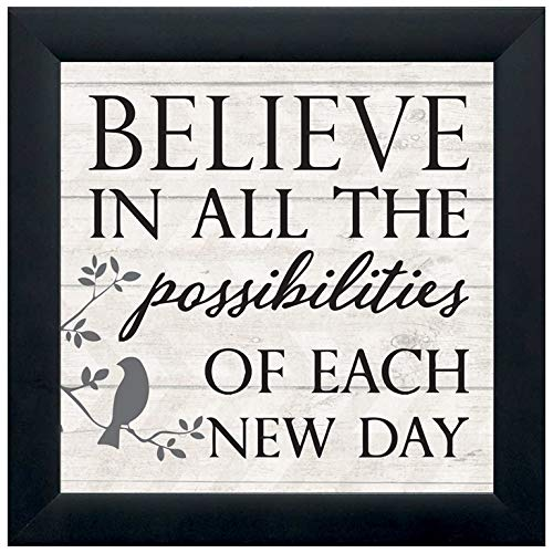 Elanze Designs Possibilities Each New Day 12 x 12 Black Wood Shadow Box Framed Sign (Black Framed Plaque)