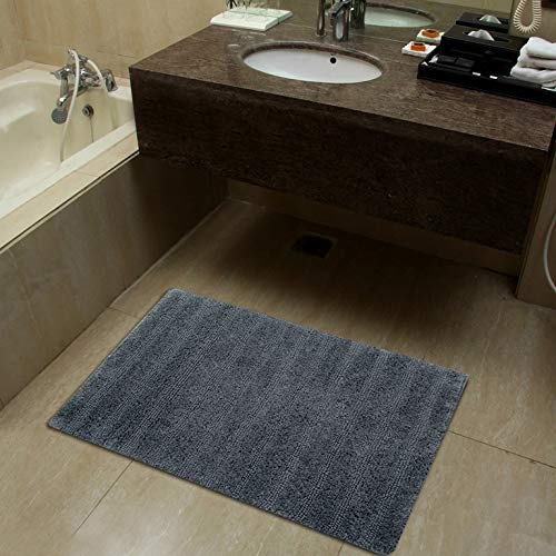 Sheen Decor Soft Upended Collection : Pure Cotton Banded Bathroom Mat | Durable Luxury Feel Bath Rug | Extra Absorbent Machine Washable Shower Mat, (20X32 Inches, ()
